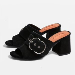 Topshop Genuine Leather Mules! size 8.5.
